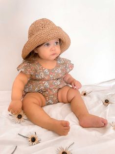 Louie Straw Hat Winslow Romper Little Girl Dresses, Little Girls, Girls Dresses, Spring Outfits, Girl Outfits, Baby Girl Accessories, Romper, Hats, Clothes