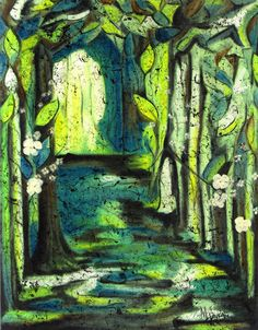 A Light In the Woods; 11 x 14 in. paper batik using watercolors, wax and India ink on rice paper. Fun with different media.