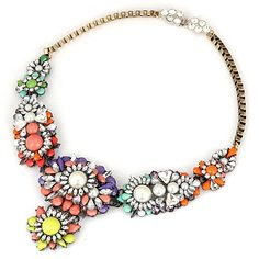 Folding Multicolor Mix Flower Pearl Decorated Alloy #Fashion #Necklaces  www.asujewelry.com