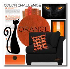 """""""Color Challenge: Orange and Black"""" by gabygrach ❤ liked on Polyvore featuring interior, interiors, interior design, home, home decor, interior decorating, Chilewich, Williams-Sonoma, Pillow Decor and polyvoreeditorial"""