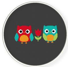 INSTANT DOWNLOAD,Free shipping,Cross stitch pattern, Cross-StitchPDF,red owl and blue owl,zxxc0247 on Etsy, $4.50