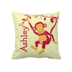 Monkey red yellow personalized name kids pillow Click on photo to purchase. Check out all current coupon offers and save! http://www.zazzle.com/coupons?rf=238785193994622463&tc=pin