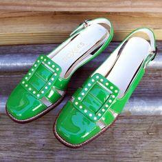 Vintage 60s Super Mod Bright Green Flats 55 by FASHIONRERUN, $55.00
