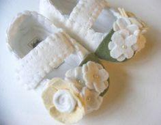 The Josephine White Wool Felt Christening Shoe