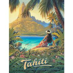 Canvas Vintage Retro Tahiti Travel Poster