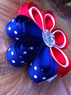 US Summer Olympic Fourth of July Ribbon Sculpture Hair Clip