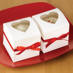White Heart Window Cupcake Boxes by Beau-coup