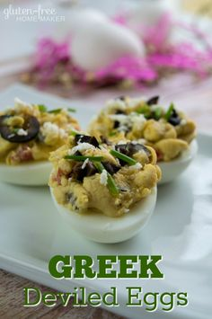 These Greek Deviled Eggs use hummus instead of mayonnaise along with minced olives and tomatoes. It's a delicious way to add variety to a classic recipe. And consider adding some of the optional toppings too.