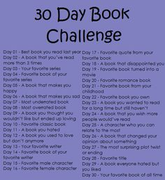 30 day book challenge.