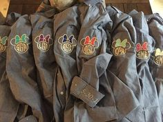 Denim shirts with Minnie Mouse monograms for the Disney-loving bride and her bridesmaids! How cute! $41 on @etsy