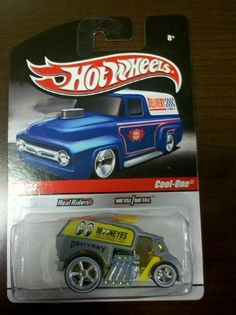 Hot Wheels Delivery Cool-One 16/34 Grey/Yellow by Mattel. $3.00. Hotwheels Cool-one Mooneyes Delivery. HOT WHEELS!!   Slick Rides Series!  SPECIALLY DESIGNED FOR THE ADULT COLLECTOR!  *$$* MooNEYES - COOL-ONE  *$$*   1:64 SCALE DIE CAST METAL ROAD RODS.!  REAL RIDER TIRES - METAL/METAL  16/34  THIS IS ONE  VERY SWEET  RIDE  AND ONE HECK OF A GREAT DEAL FOR ANY SERIOUS COLLECTOR.!   IF YOU DON'T HAVE IT........BUY IT!  IF YOUR NOT SURE___BUY IT!!   THIS Delivery ...