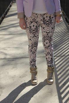 print pants and sneaker wedges