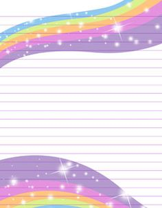 free printable rainbow stationery - I added glitter in rainbow colors to mine.  :-)  GF