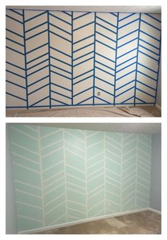 herringbone pattern painting on wall. Grey is Grey Screen, White is Pure white and mint is Green Trance