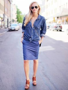 Styling Tip: Go for a denim-on-denim look by pairing an oversized denim blouse with a denim pencil skirt.  Shop the key piece: 7 For All Mankind High Waisted Seamed Pencil Skirt ($189)
