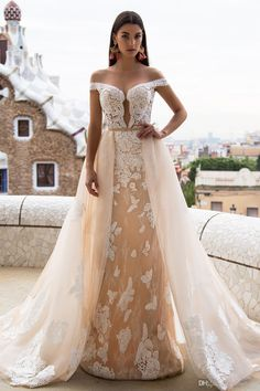 2017 Milla Nova Mermaid Wedding Dresses with Detachable Train Illusion Long Sleeve Ruffled Court Train Beach Garden Vintage Bridal Gowns