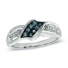 1/5 CT. T.W. Enhanced Blue and White Diamond Fashion Ring in 10K White Gold - View All Rings - Zales