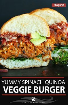 Tasty And Yummy Spinach Quinoa Veggie Burger. #Burger #Burger Recipe #Tasty #Veggie Burger #Yummy. #organicfood #organicmeal #recipe