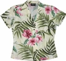 Pink Hibiscus Ladies Fitted Aloha Shirt in Beige
