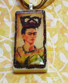 Frida Kahlo domino tile resin jewelery