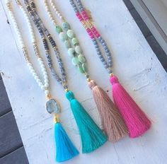 ✨ New Retailer ✨ Lots of new tassel goodies available now at in Montgomery, TX! Tassel Jewelry, Cute Jewelry, Jewelry Crafts, Beaded Jewelry, Jewelry Box, Jewelry Accessories, Jewelry Necklaces, Handmade Jewelry, Jewelry Design