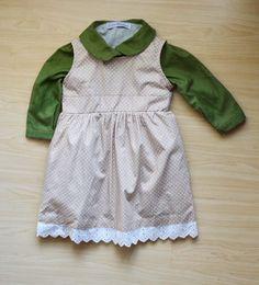 Olive green and poka dot dress