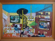 Ranchinho - Cena do Interior - Óleo sobre eucatex - com moldura - datado de 1986 - 40x60cm