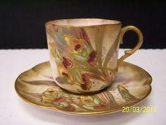 Doulton Burslem Hand Painted Floral Cup & Saucer