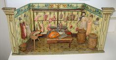 Antique German Gottschalk miniature Butcher Shop from sondrakruegerantiques on Ruby Lane