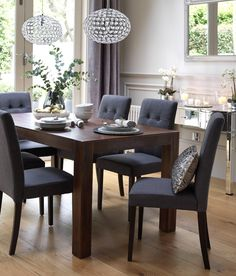 Home Dining Inspiration Ideas. Dining room with dark wood dining table and grey . - Salle A Manger Dark Wood Dining Table, Wooden Dining Room Chairs, Outdoor Dining Furniture, Dining Room Sets, Dining Room Design, Dining Room Table, Wood Table, Diy Table, Dark Grey Dining Room