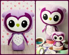 PDF. Wise owl and small owl brooch. Plush Doll Pattern by Noialand