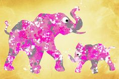 Pink Elephants by Christina Rollo © www.rollosphotos.com. Cute pink elephant silhouettes colorful character design artwork for children, digitally painted with pink, white, and gray watercolors.