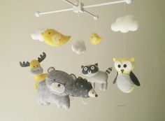 "Baby crib mobile, forest mobile, animal mobile , felt mobile ""Forest friends 14"" - Raccoon, Owl, Hedgehog, Bear, and Moose"