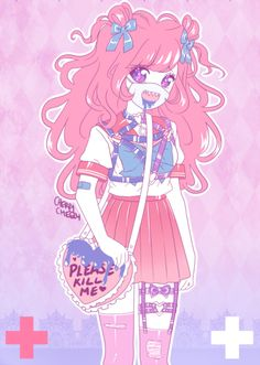 """cherrycheezy: """" young and innocent? \ this is mine, please do NOT steal/edit/repost my art! Pastel Goth Art, Pastel Grunge, Pastel Style, Kawaii Art, Kawaii Anime, Anime Fnaf, Candy Gore, Character Art, Character Design"""