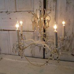 Painted chandelier lighting fixture romantic by AnitaSperoDesign