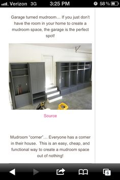 Garage Mudroom, each kid could have their own space Garage Lockers, Mud Room Garage, Garage Office, Garage Mudrooms, Garage Storage Solutions, Garage Organization, Organizing, Entry Closet, Beautiful Kitchens
