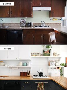 Kitchen Remodel w/ Butcher Block Counter Diy Kitchen Cabinets, Kitchen Redo, Kitchen Cabinet Hardware, New Kitchen, Updated Kitchen, Rental Kitchen Makeover, Kitchen Backsplash, Cheap Kitchen Remodel, Kitchen Updates