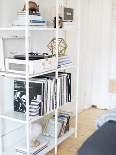These IKEA shelves have almost become part of who I am, it seems like they complete our room and sum both Jordan and I up so perfectly! I gave them a little rearrange lately and I'm feeling pretty pro Decoration Bedroom, Ikea Bedroom, White Bedroom, Ikea Shelves Bedroom, Bedroom Ideas, Bedroom Bed, Bed Room, Piece A Vivre, Minimalist Bedroom