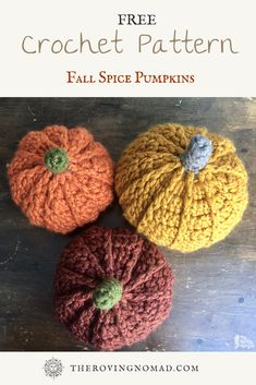 Crochet Pattern - Fall Spice Pumpkins — The Roving Nomad Thanksgiving Crochet, Crochet Fall, Holiday Crochet, Crochet Home, Crochet Crafts, Yarn Crafts, Crochet Projects, Free Crochet, Sewing Projects