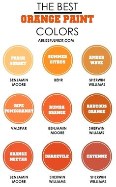 Best Paint Shades Of Orange Home Design Ideas And Pictures With Chartaal Geld Uitspraak Orange Paint Colors, Best Paint Colors, Stain Colors, Orange Color, Paint Color Chart, Mexican Kitchen Decor, Orange House, Paint Shades, Sherwin William Paint