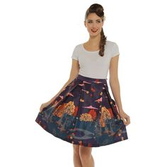 e4270c7cc3b5d  Marie  Purple Autumn Print Swing Skirt Beloved Clothing