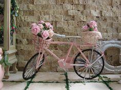 Miniature Shabby Chic Pink Bike  #miniatures #dollhouse