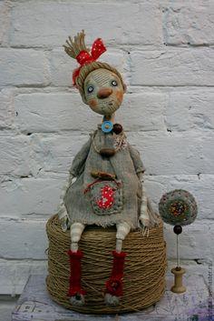 Купить Авторская кукла Пугалко - серый, красный, оберег, авторская кукла…
