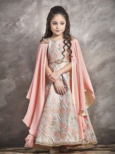Buy Fine Peach Orange Kids Gown online,Gown beautifully designed with Zardoshi With Paral With Emblellishment Work,Fabric: Jacquard ,Bottam Fabric: - 132457 Girls Winter Fashion, Cute Kids Fashion, Girl Fashion, Ethnic Fashion, Fashion Clothes, Fashion Ideas, Fashion Trends, Gowns For Girls, Girls Dresses
