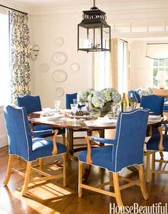 Marine blue dining room chairs in an Nantucket dining room. Design: T. Keller Donovan.