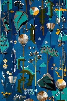 Thistle blue by Jobs Handtryck designed by Dagmar Lodén, 1949. Lodén (1904-1989) was a successful painter and textile designer in Sweden.