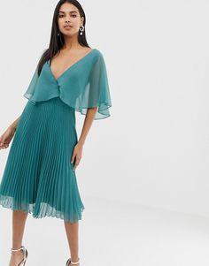 f1b7f5ccfd7 DESIGN flutter sleeve midi dress with pleat skirt