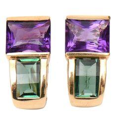 Green Tourmaline Amethyst Gold Pierced Earrings | From a unique collection of vintage stud earrings at https://www.1stdibs.com/jewelry/earrings/stud-earrings/