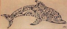 Diseño Plantilla de Tatuaje de Delfín Maori Polinesio