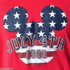 Disney July 4th 2002 USA Mickey Mouse Ears XL T-Shirt America Independence Day